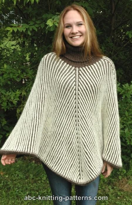 Free Knitting Pattern for Reversible Brioche Poncho