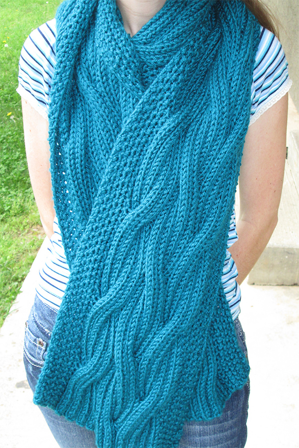 Free Knitting Pattern for Reversible Cable Rib Scarf