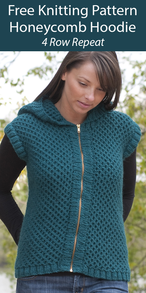 Free Knitting Pattern for Reversible Honeycomb Hoodie