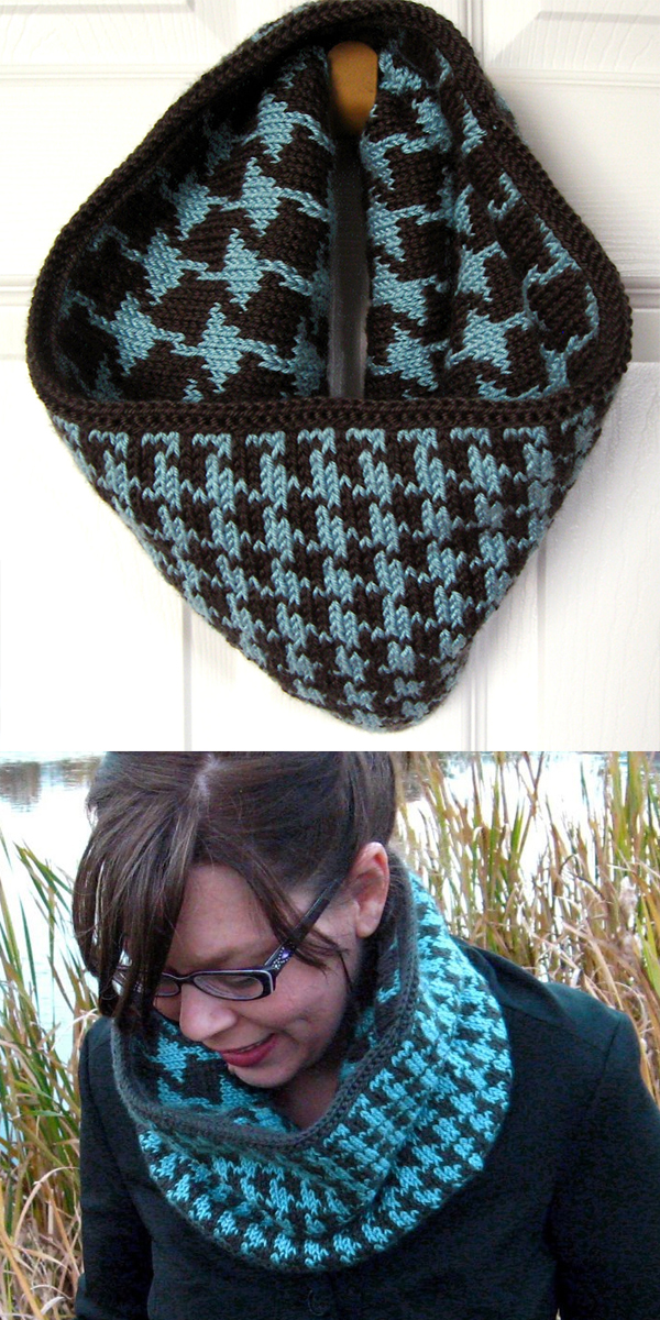 Knitting Pattern for Reversible Houndstooth Cowl