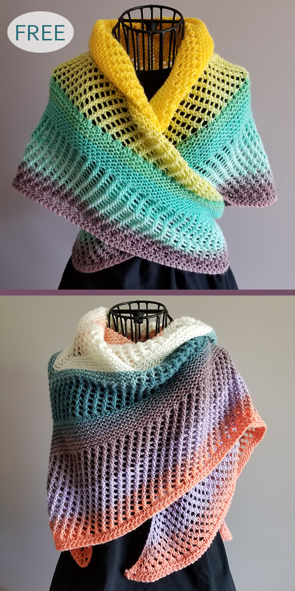 Free Knitting Pattern for Easy One Skein Reyna Shawl