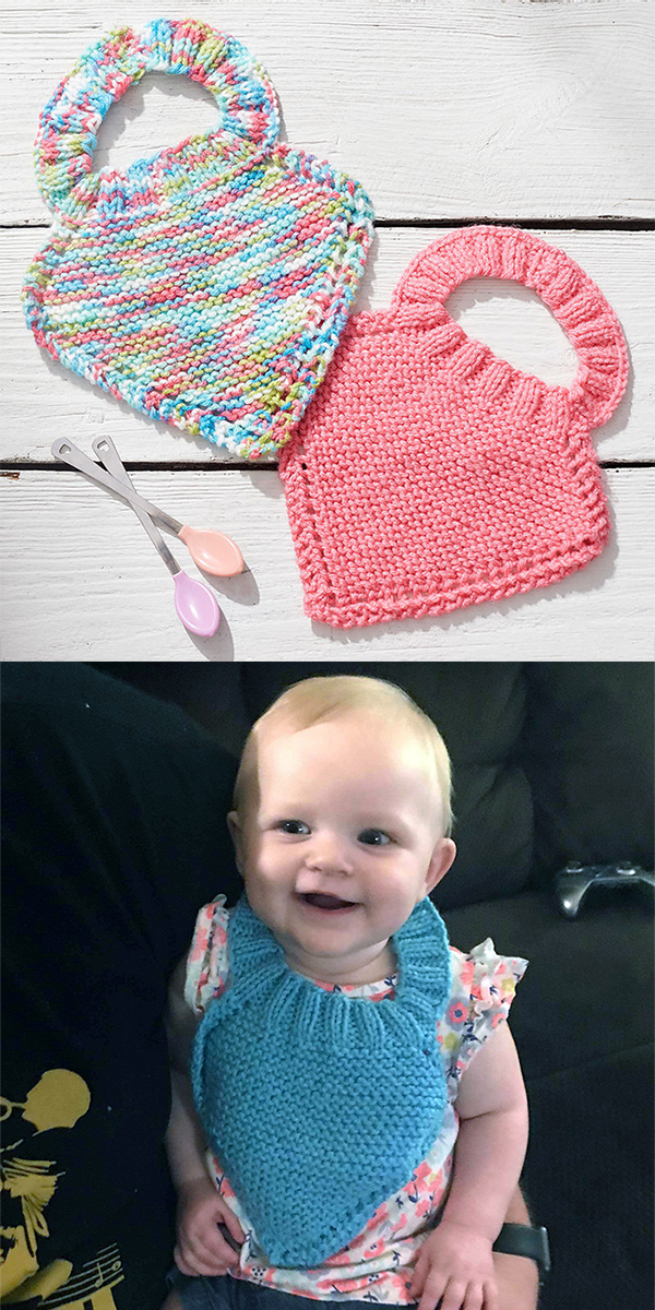 Free Knitting Pattern for Easy Pull-On Stay-On Bib