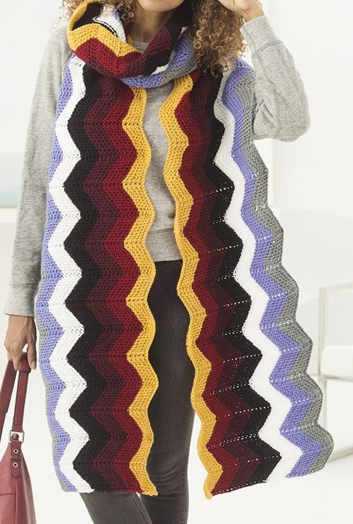 Free Knitting Pattern for Rhea Ripple Super Scarf