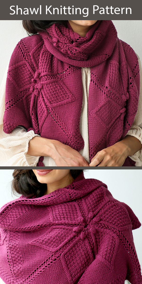 Shawl Knitting Pattern with Flowers