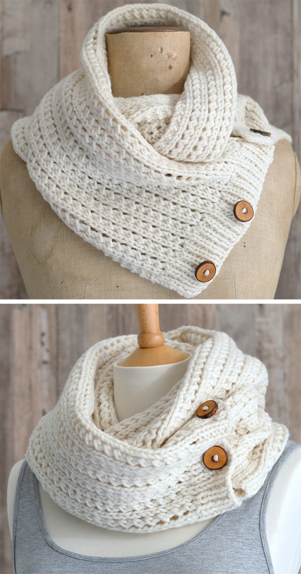 Knitting Pattern for Easy Rib Mesh Infinity Scarf