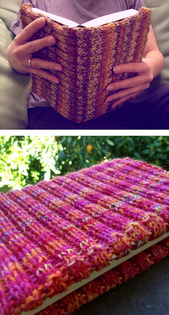 Free Knitting Pattern for It's Adjustable Book Cover