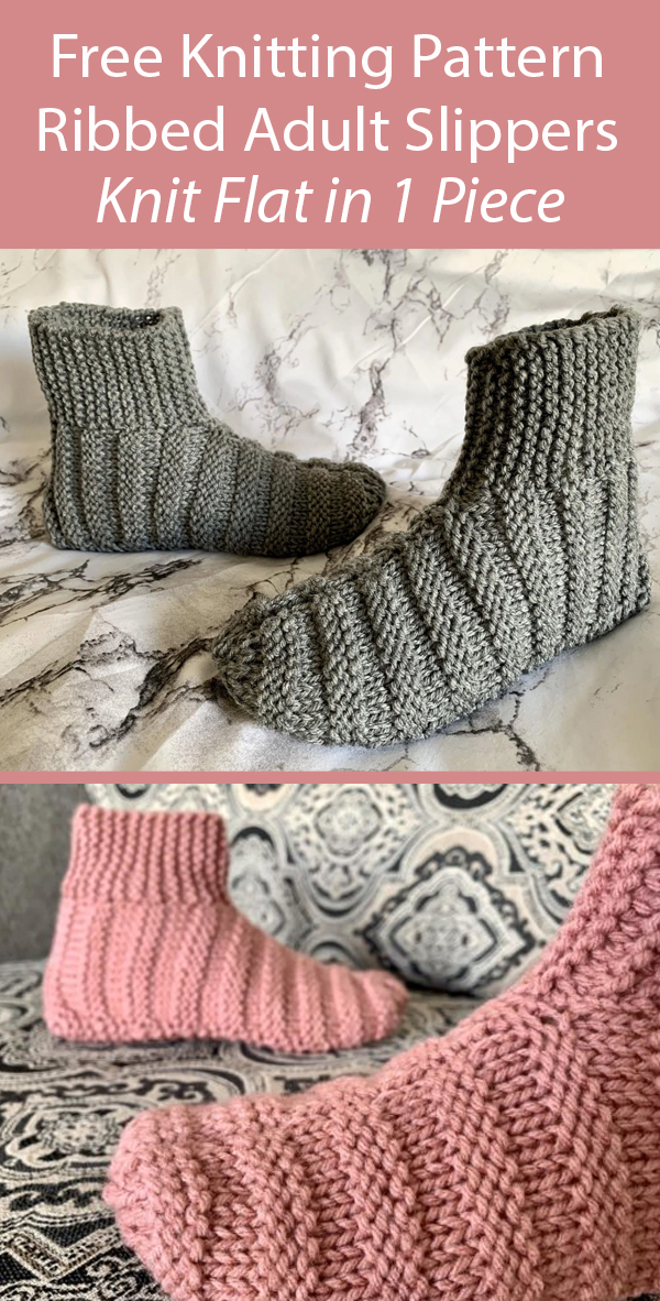 Free Knitting Pattern Ribbed Bootie Slippers Knit Flat