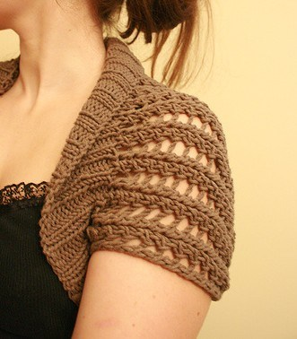 Free knitting pattern for Ribbed Lace Bolero - knit rectangle and seam