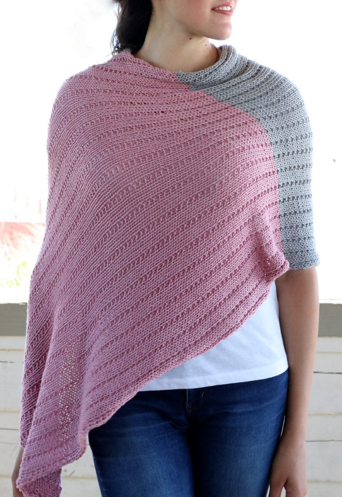 Free Knitting Pattern for Easy Ribbed Poncho