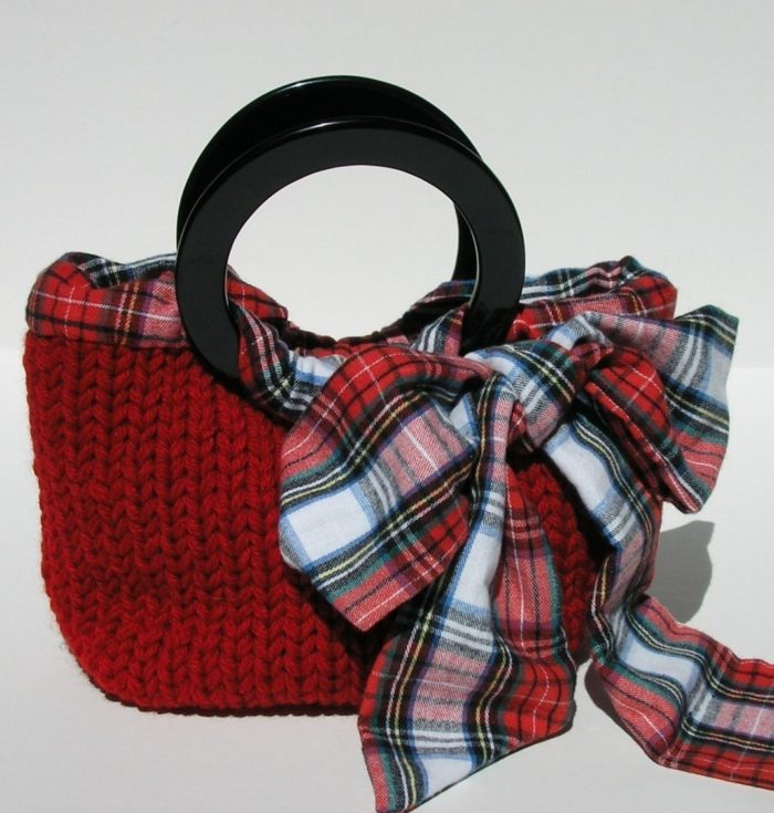 Knitting Pattern for Ribbon Trimmed Purse