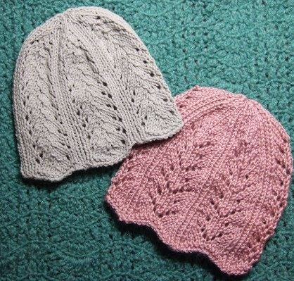 Free knitting pattern for Ribbing and Lace beanie hats