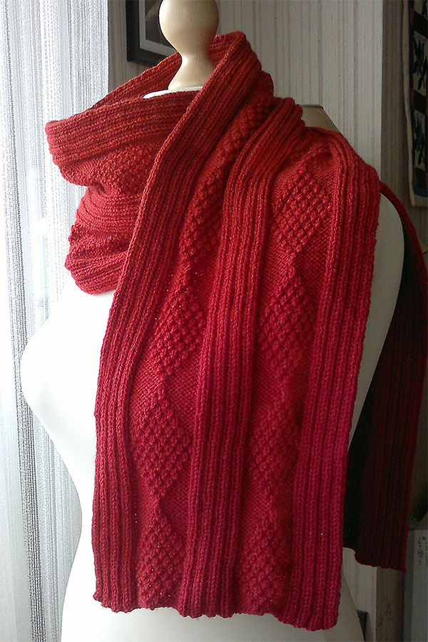 Knitting Pattern for Ribs and Diamonds Scarf