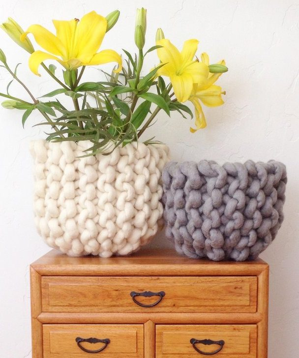 Free Knitting Pattern for Ridge Basket