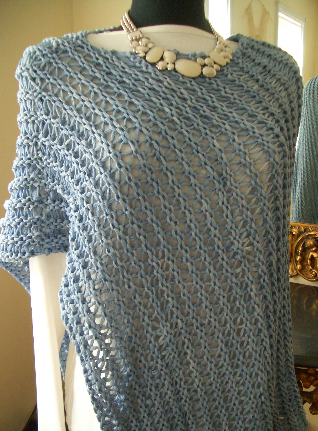 Free Knitting Pattern for Ridged Wrap Poncho