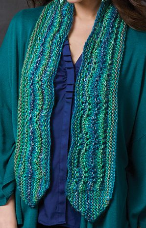 Free Knitting Pattern for Easy Ripple on the Side Scarf