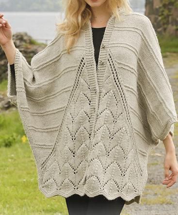 Free Knitting Pattern for Ripple Tide Sweater Wrap