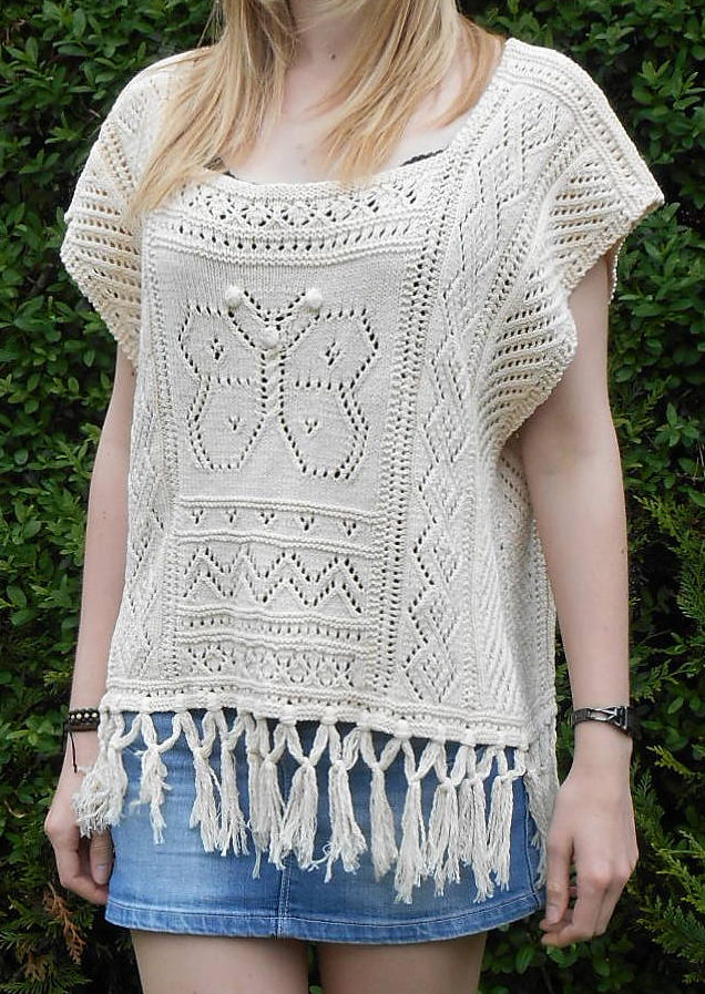 Free Knitting Pattern for Riviera Maya Poncho