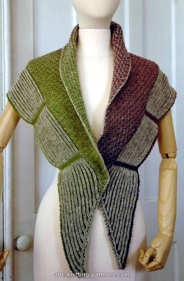 Free knitting pattern for Rivera Shawl with Brioche Border