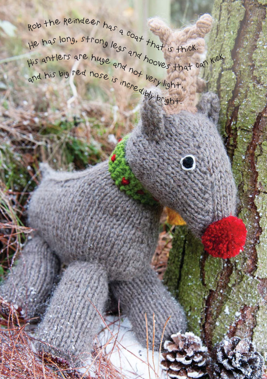 Knitting Pattern for Red Nosed Reindeer Toy