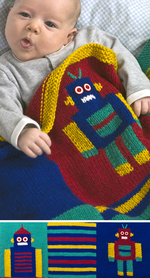 Free Knitting Pattern for Robot Blanket