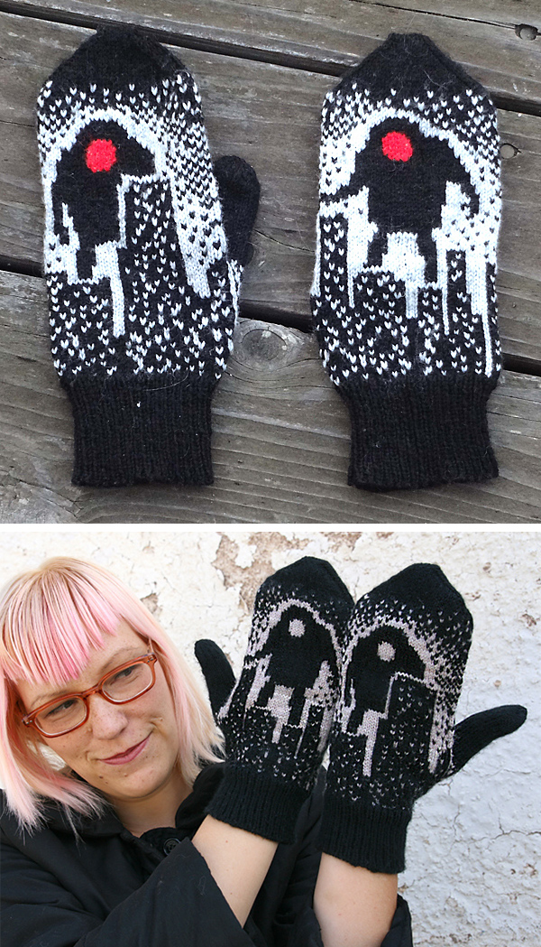 Knitting Pattern for Robots vs. Downtown Mittens