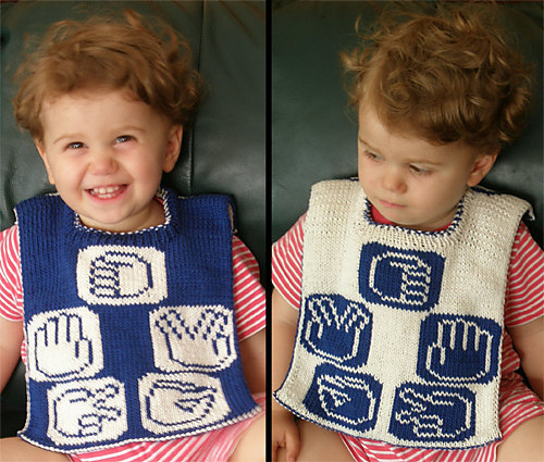 Rock Paper Scissors Lizard Spock Reversible Baby Bib Knitting Pattern