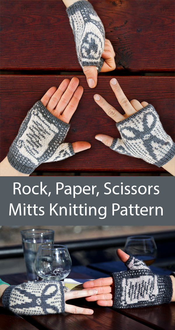 Knitting Pattern for Rock, Paper, Scissors Mitts