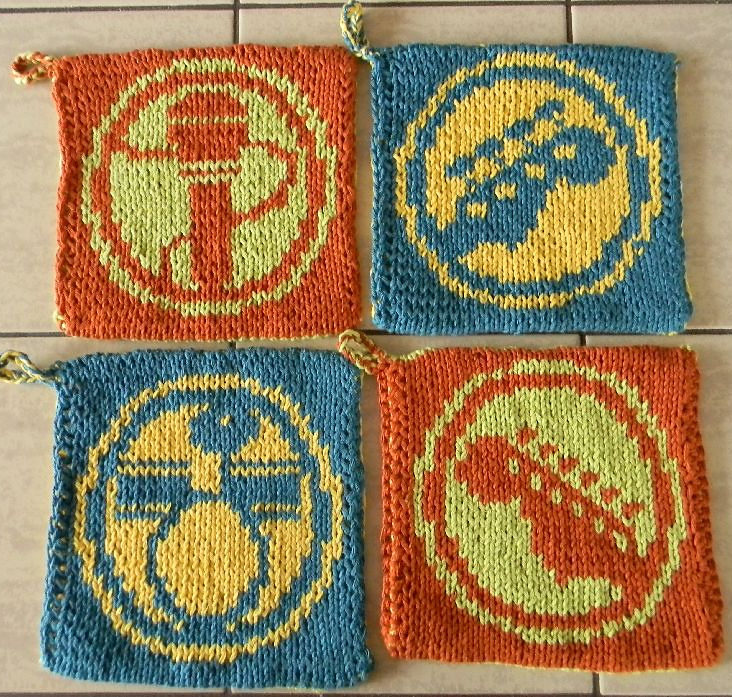 Free Knitting Pattern for Rock Band Pot Holders
