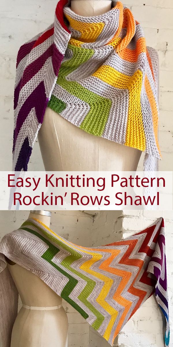 Knitting Pattern for Easy Rockin' Rows Shawl