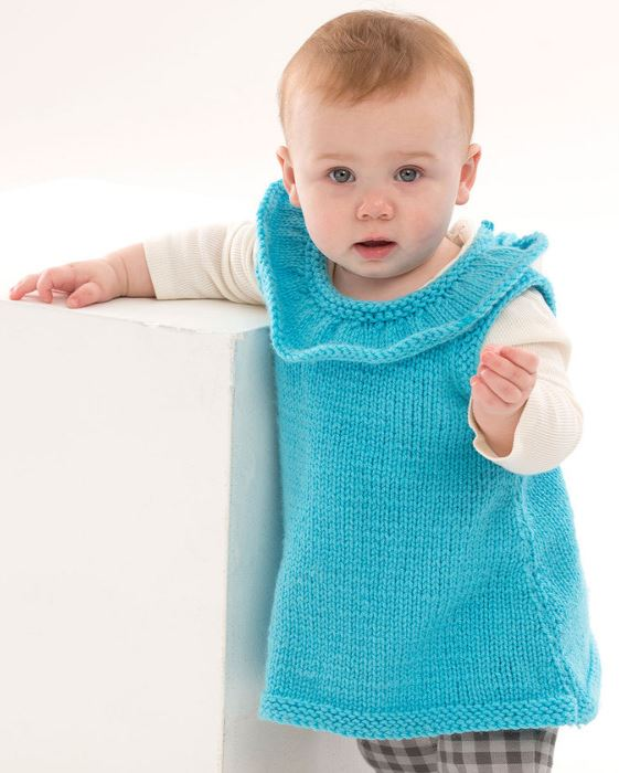 Free knitting pattern for Rockin the Ruffles Tunic baby vest