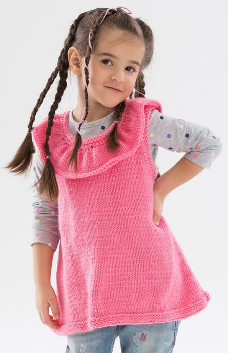 Free knitting pattern for Rockin the Ruffles Tunic children's vest