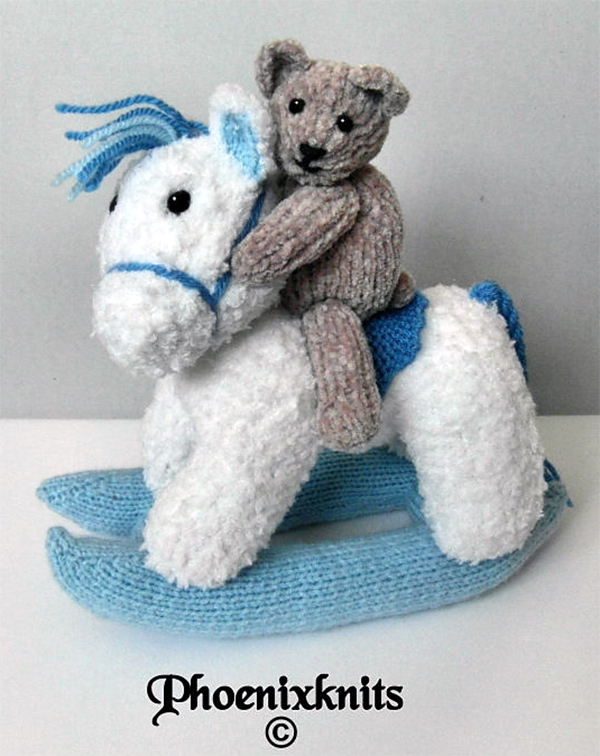 Knitting Pattern for Rocking Horse and Teddy Bear