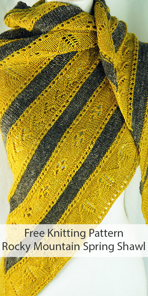Free Knitting Pattern for Rocky Mountain Spring Shawl