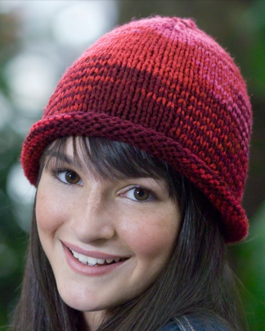 Free Knitting Pattern for Easy Roll Brim Beanie Knit Flat