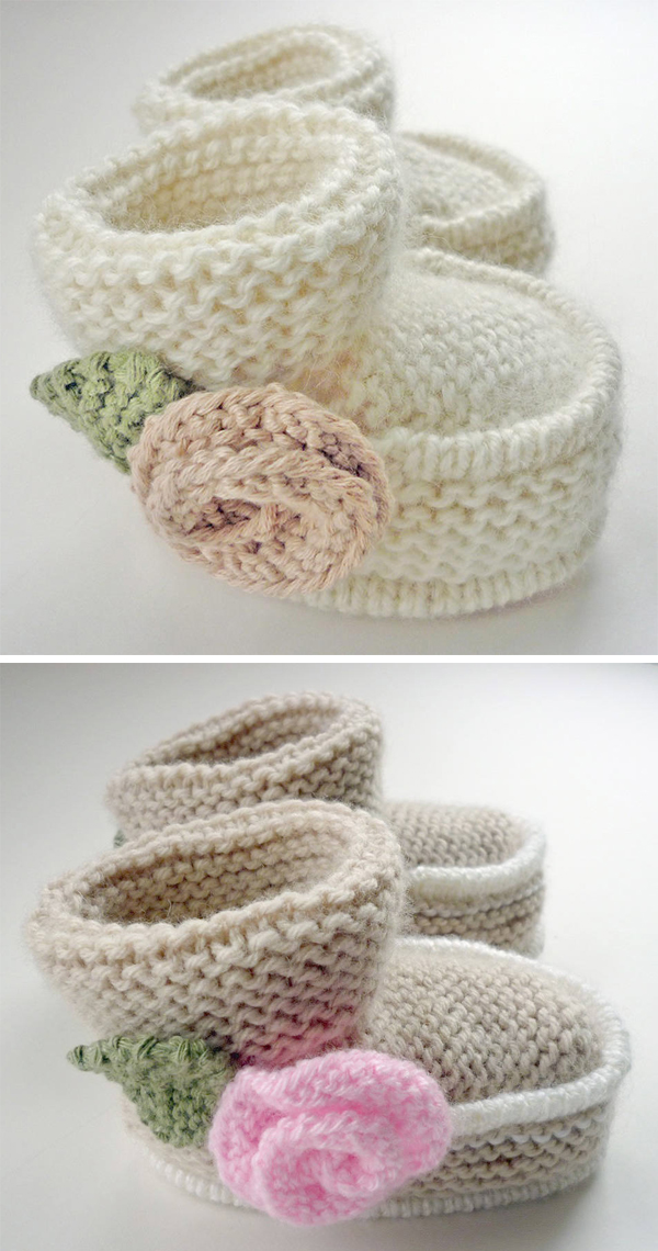 Knitting pattern for Little Rose Baby Booties