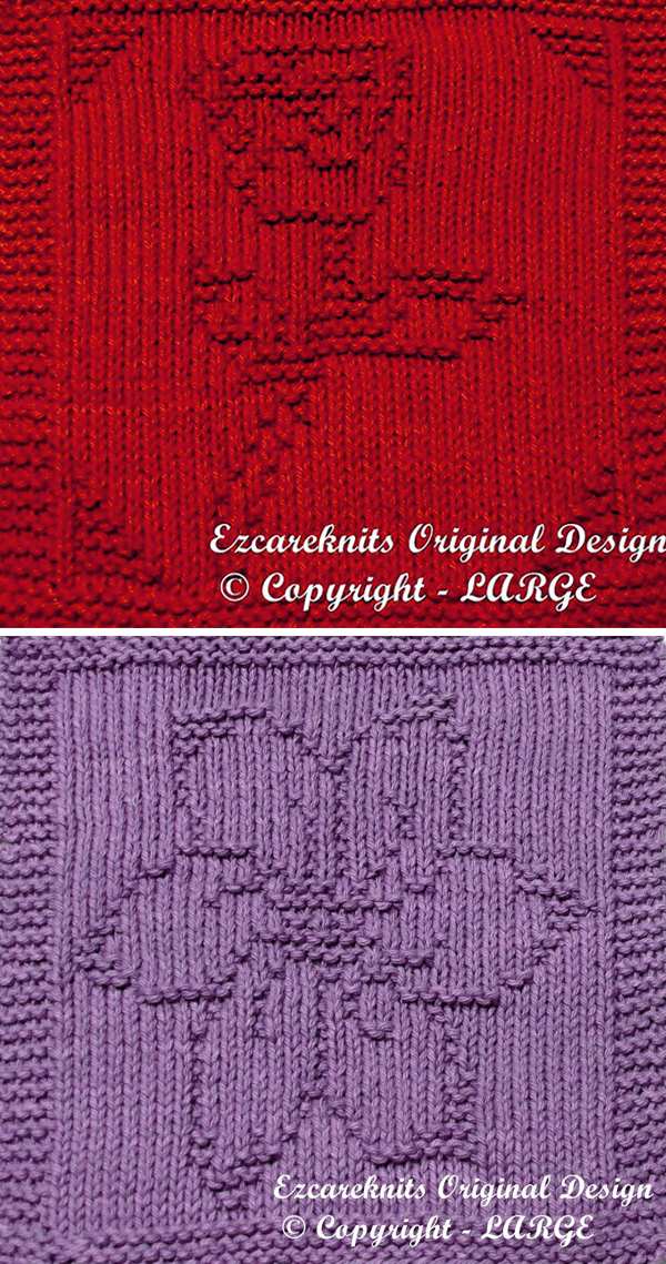Knitting Patterns for Rose or Blossom Cloth