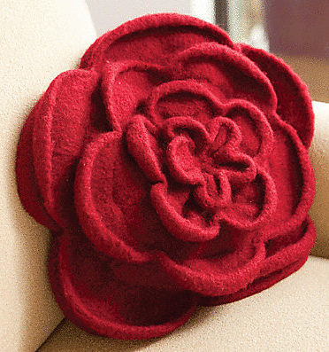 Knitting Pattern for Rose Pillow or Purse