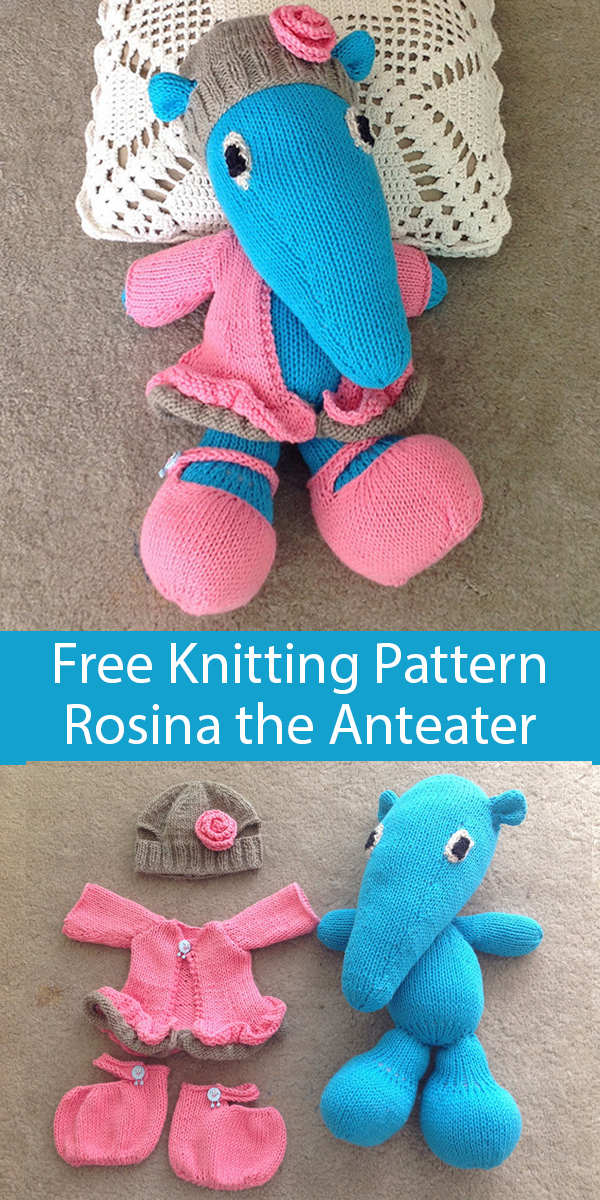 Free Knitting Pattern for Anteater Toy Softie