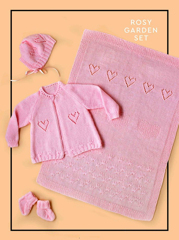 Free Knitting pattern for Rosy Garden Baby Set