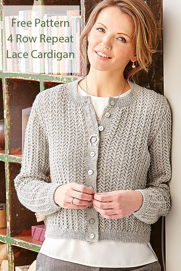 Free Knitting Pattern for 4 Row Repeat Lace Cardigan