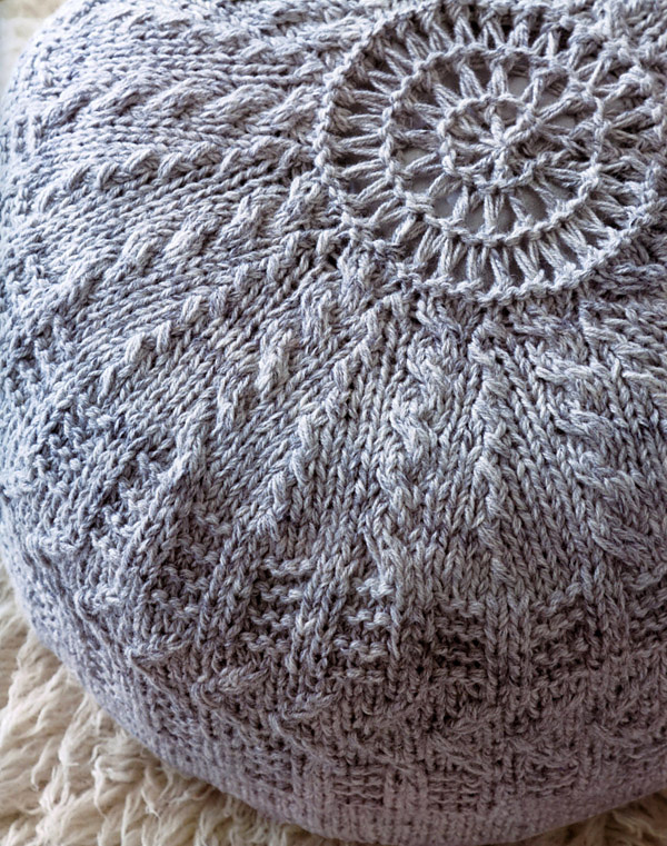 Knitting Pattern for Round Pouffe