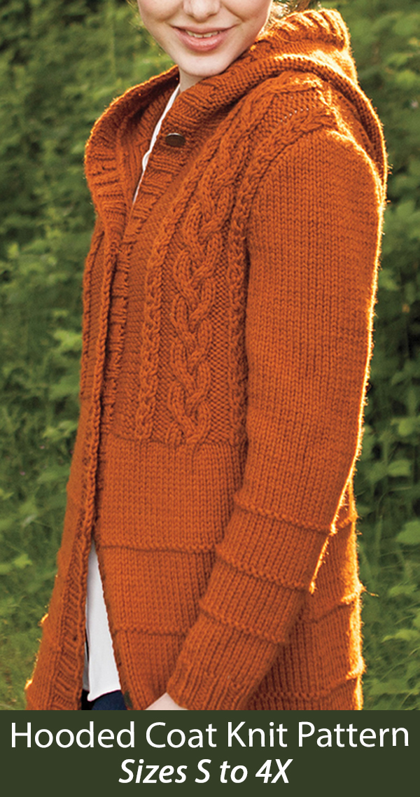 Knitting Pattern Roundstone Hooded Coat Cardigan