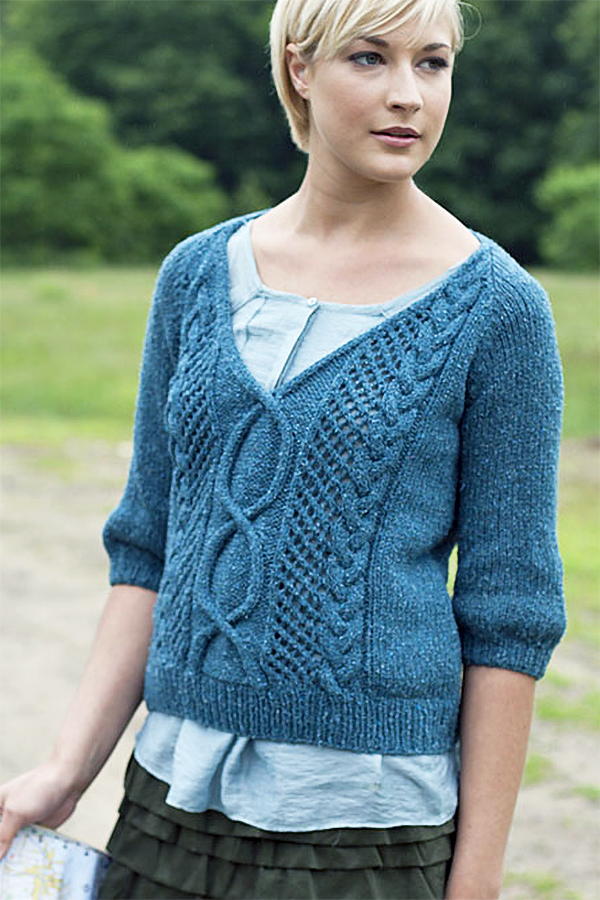 Free Knitting Pattern for Norah Gaughan's Route 1 Top