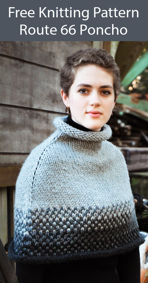 Free Knitting Pattern for Route 66 Poncho