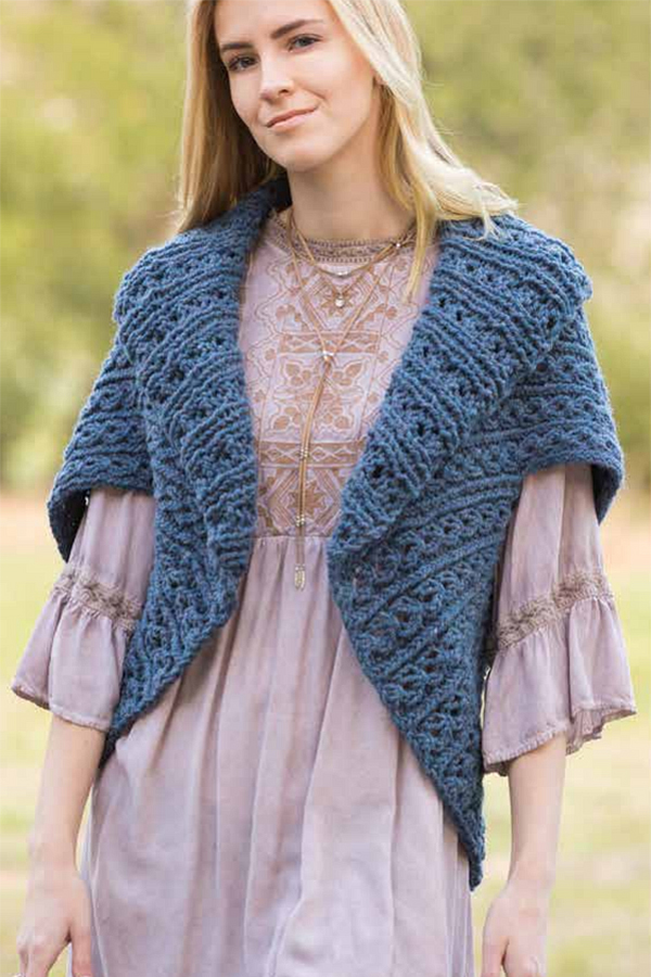 Free Knitting Pattern for 4 Row Repeat Royal Rib Sweater Wrap
