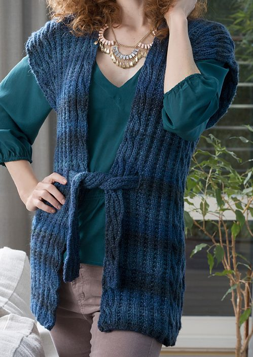 Free Knitting Pattern for Ruana Style Vest
