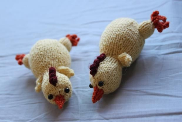 Free knitting pattern for Rubber Chicken and more bird knitting patterns