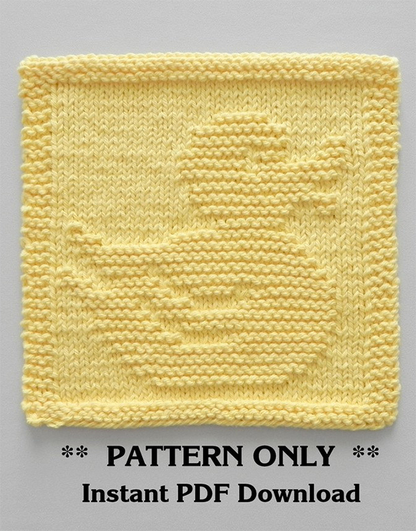 Knitting pattern for Rubber Duck Wash Cloth