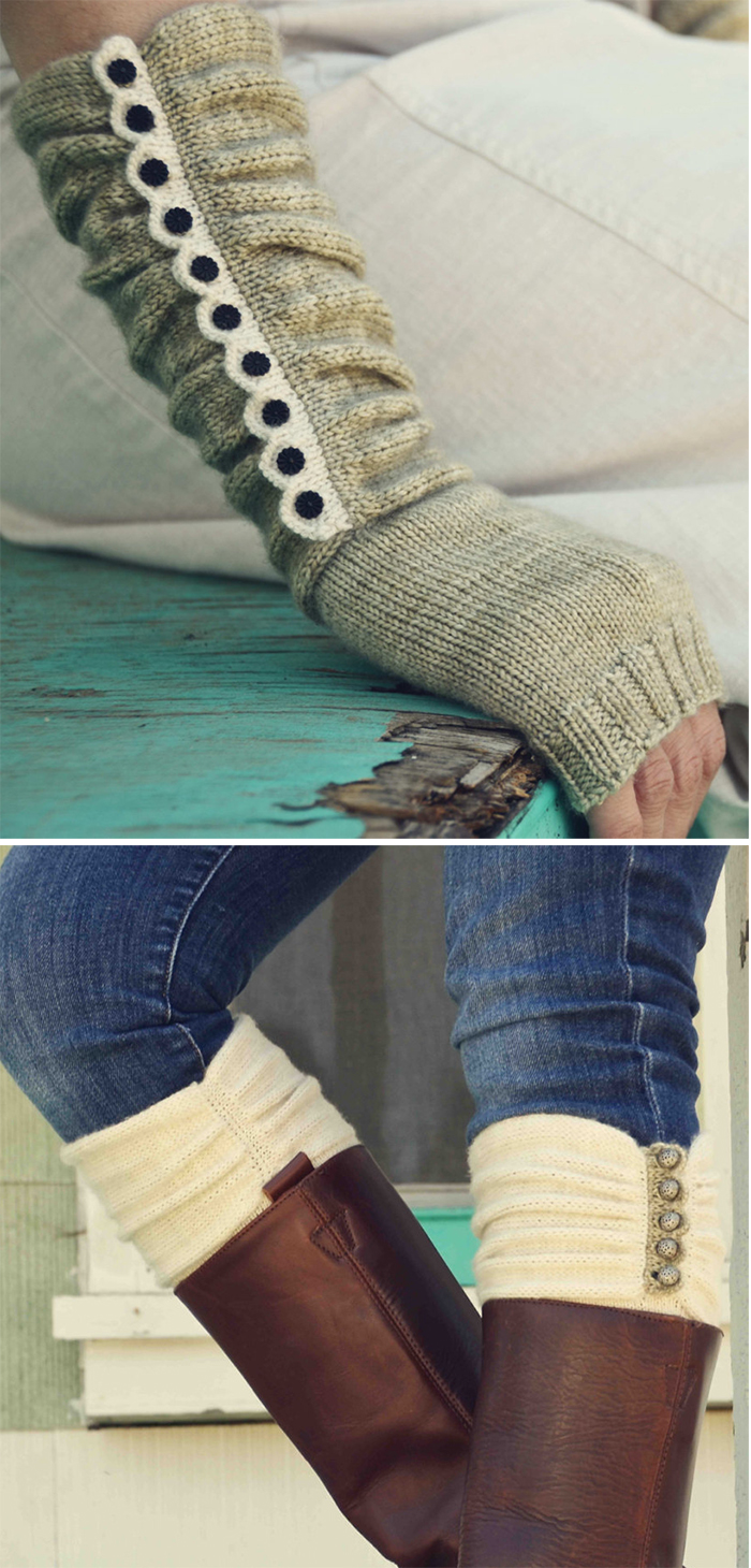 Knitting Pattern for Austin Boot Liners & Mitts