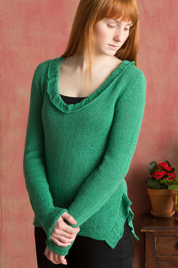 Free Knitting Pattern for Ruffle Pullover